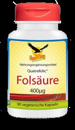Bioaktive Folsäure Quatrefolic© a 400mcg, 90 vegetarische Kapseln