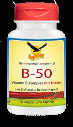 Vitamin B-50 Komplex mit Niacin, 90 veg. Kapseln