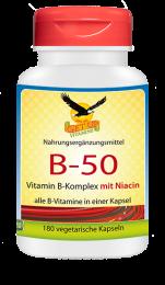 Vitamin B-50 Komplex mit Niacin, 180 veg. Kapseln