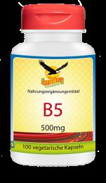 Vitamin B5 a 500mg, 100 veg. Kapseln