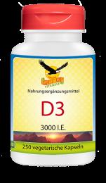 Vitamin D3  3000 IU,  250 veg. Kapseln